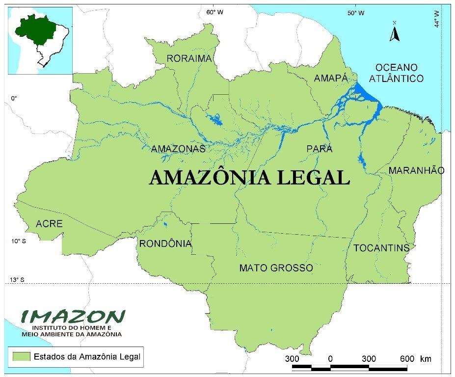 Mapa que contempla os nove Estados da Amazônia Legal