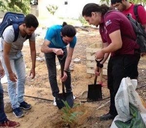Alunos do projeto Escola Verde durante atividade de arborização