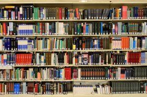 Imagem mostra estante repleta de livros para ilustrar biblioteca