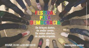 Imagem em que se lê Festival pela Democracia. A Imagem mostra círculo formado por diferentes sapatos