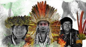 guerreiros da floresta - Imagem mostra três líderes indígenas da série Guerreiros da Floresta